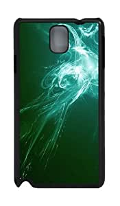 Green And White Abstract Art PC Case and Cover for Samsung Galaxy Note 3 Note III N9000 Black