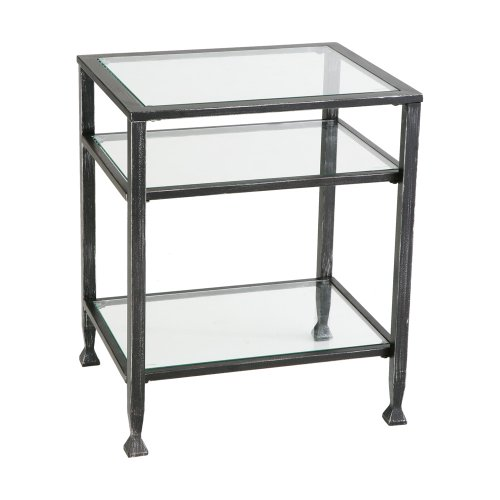 037732087726 - Southern Enterprises Bunching Glass Side End Table, Black with Silver Distressed Finish carousel main 0