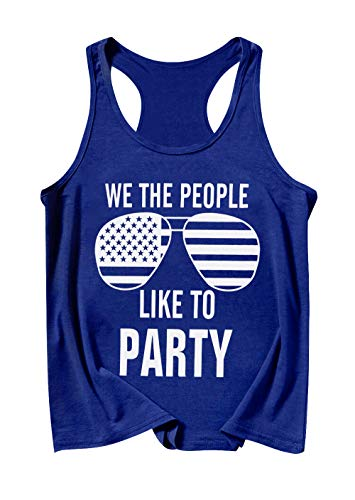 MAXIMGR America Flag Tank Top Women We The People Like to Party Sunglass Graphic Patriotic Tanks Vest Shirt Blue