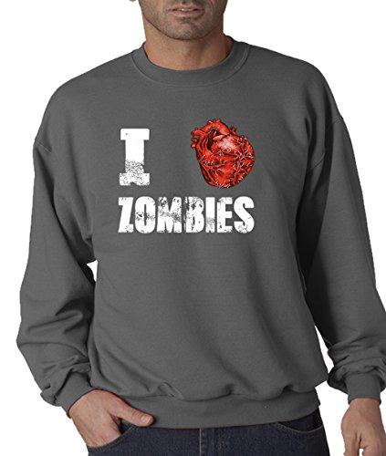 [Lifestyle39 I heart Love Zombies Sweatshirt, If You Love Zombies, Show Your Love With This Sweatshirt, Zombie Horror Fan Graphic Sweatshirt, Halloween Costume Charcoal Large] (80's Couples Halloween Costume Ideas)