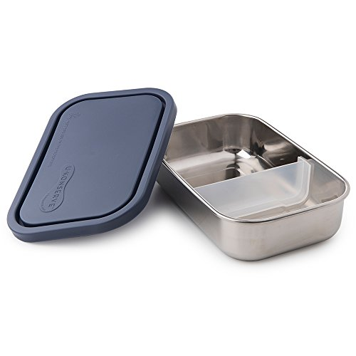 U Konserve - Divided Rectangle, Stainless Steel with Removable Dividers, Multiple Containers in One, Ideal for Lunches, Picnics and Travel, Dishwasher Safe (Ocean) ()