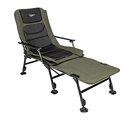 VINGLI Folding Fishing Chair Plus Foot Rest Attachment,Widen 48x22 inch XXL Size, 180° Adjustable Reclining Mesh Padded Back, Outdoor Camping/Beach Portable Stool, Support 350LBS, with Carry - Attachment Foot
