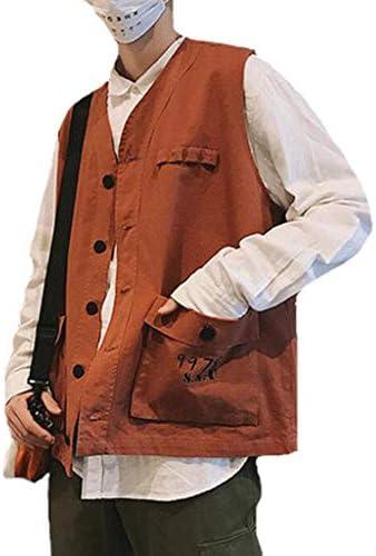 メンズアウトドア春、夏と秋の薄いセクションベスト写真釣り綿マルチポケット中年男性のベストツーリングベスト (色 : レンガ赤, サイズ さいず : S s)