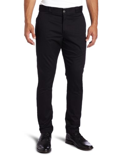 Dickies Men's Skinny Straight Fit Work Pant, Black, 32x34