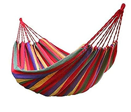 DEZIINE Cotton Striped Foldable Hammock/Hanging Bed for Camping & Outdoor Activities (for Single Person) - Multicolor