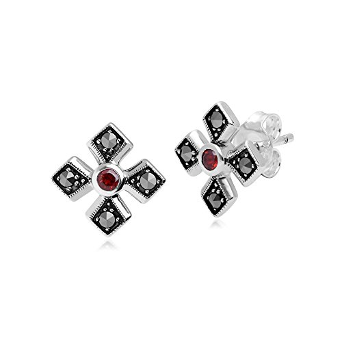 Gemondo Blue Topaz Earring, Sterling Silver Marcasite & Garnet January Birthstone (Sterling Silver Garnet Marcasite Earrings)