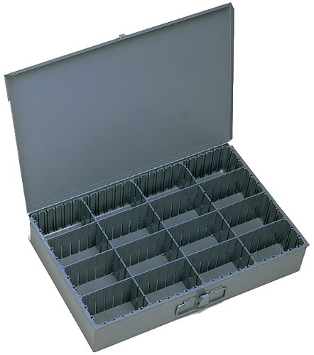 Durham 131-95-IND Gray Cold Rolled Steel Individual Adjustable Compartment Large Expando Box, 18'' Width x 3'' Height x 12'' Depth