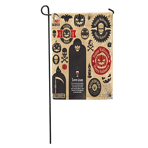 Semtomn Garden Flag Vintage Halloween Party Labels and Collection Pumpkin Death Skeleton Ghost Home Yard House Decor Barnner Outdoor Stand 28x40 Inches Flag -