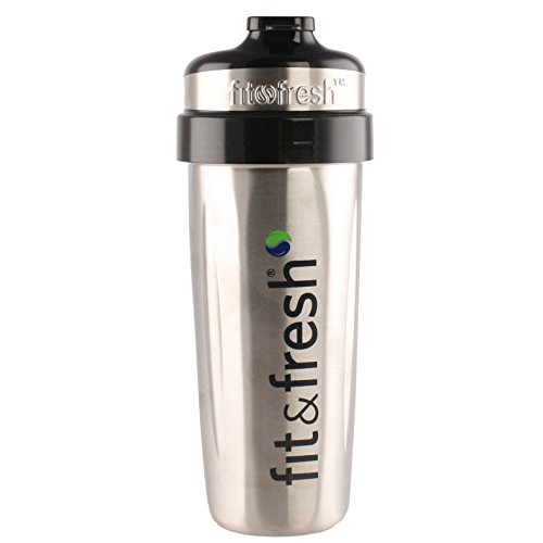 Fit & Fresh CleanTek 26 ounce Stainless Steel Shaker Cup with built in agitator