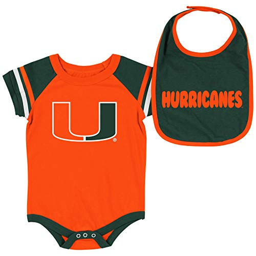 Colosseum NCAA Baby Short Sleeve Bodysuit and Bib 2-Pack-Newborn and Infant Sizes-Miami Hurricanes-0-3 Months