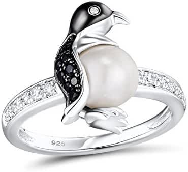 Penguin Ring 925 Sterling Silver Fresh Water Pearl Black Spinel White Cubic Zirconia Stone