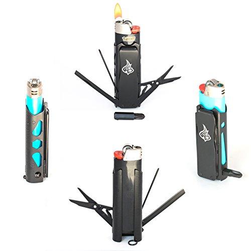 LighterBro PRO - Lighter Sleeve - Multi-tool - Stainless Steel (Black)