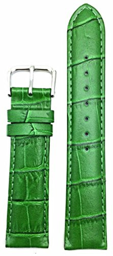 20mm Green Genuine Leather Watch Band   Square Alligator Crocodile Grain, Lightly Padded Replacement Wrist Strap That Brings New Life to Any Watch (Mens Standard (Green Crocodile Leather Watch)
