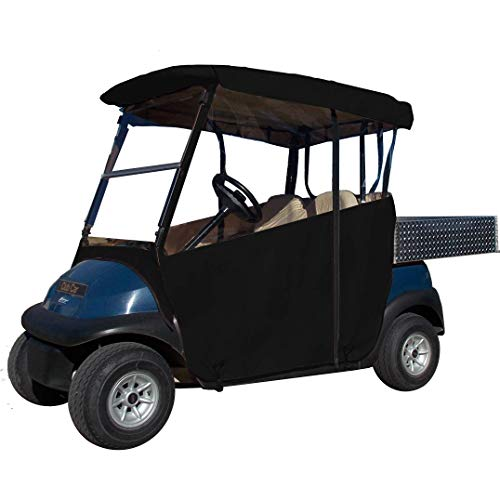 "Black Golf Cart Cover – 3-Sided ""Over-The-Top"" Cart Cover for Club Car (DS2000+) –Drivable Golf Cart Cover Enclosure – Marine Grade Vinyl - Black Rain Cover for Golfers– Fits Golf Bags, Utility Box -  DOORWORKS GOLF CART ENCLOSURES"