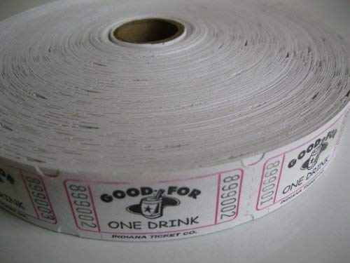 2000 White Good For One Drink Single Roll Consecutively Numbered Raffle Tickets