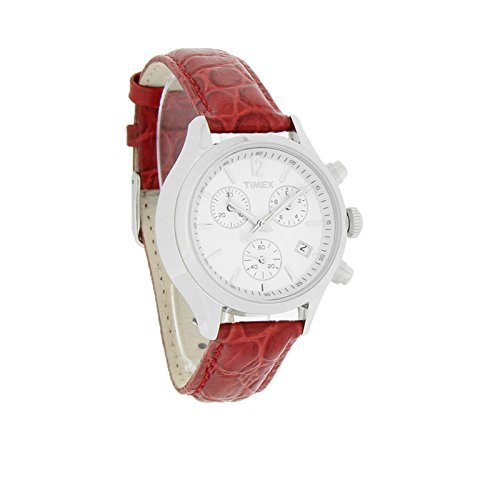 Timex Classic Chronograph Ladies Red Leather Quartz Watch T2P419