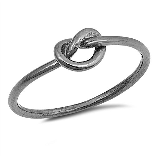 (Oxford Diamond Co .925 Sterling Silver Plain Love Heart Knot Ring Sizes 3-12 (Three Colors) (Black-Rhodium-Plated-Silver, 6))