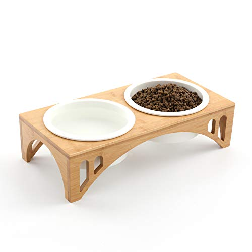 FUKUMARU Elevated Dog Ceramic Bowls, 17 OZ Raised Food Feeding Dishes for Large Cats and Medium Dogs, Solid Bamboo Water…