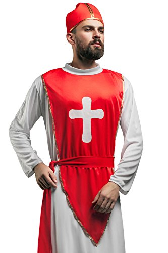 Adult Men Cardinal Costume His Eminence Catholic Priest Cleric Christian Dress Up (Medium/Large, Red / White)
