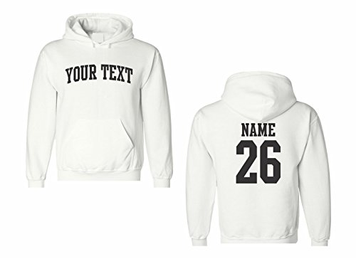 Jersey Sweatshirt Print - Men's Custom Personalized Hooded Sweatshirt, Front Arched text, Back Name & Number