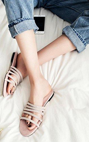 ... Frau Diamant flache Sandalen und Pantoffeln Wort Drag Sandalen  weiblichen Sandalen Strand pink