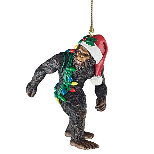 Design Toscano Bigfoot the Holiday Yeti with Santa Hat Funny Christmas Tree Ornament, 3 Inch, Polyresin, Full Color]()