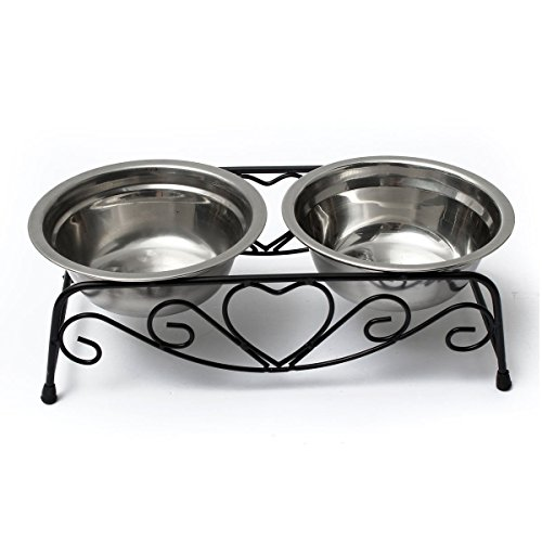 Yosoo Stainless Steel Double Feeder Dishes Pet Cat Dog Puppy Food and Water Dish Bowls with Retro Iron Stand (Bowl Cat Retro)