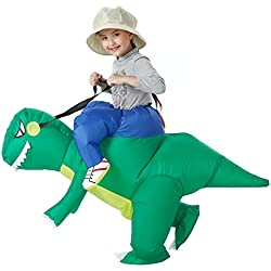 YEAHBEER Dinosaur Inflatable Costume T-Rex Fancy Dress Halloween Blow up Costumes Adult/Kids (Dinosaur Kid)