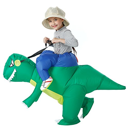 YEAHBEER Dinosaur Inflatable Costume T-Rex Fancy Dress Halloween Blow up Costumes Adult/Kids (Dinosaur Kid)]()