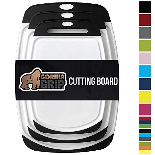- Gorilla Grip Original Reversible Cutting Board (3-Piece) BPA Free, Dishwasher Safe, Juice Grooves, Larger Thicker Boards, Easy Grip Handle, Non Porous, Extra Large, Kitchen (Set of Three: Black)
