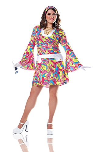 [Costume Culture Women's Plus-Size Groovy Chic Costume Plus, Pink, 2X] (Chic Costumes)