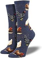 """Socksmith Womens Novelty Crew Socks """"Hen House"""" - Denim"""