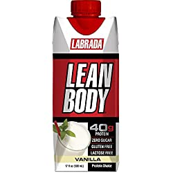 LABRADA NUTRITION - Lean Body RTD Whey Protein Shake, Convenient On-The-Go Meal Replacement Shake for Men & Women, 40 grams of Protein – Zero Sugar, Lactose & Gluten Free, Vanilla (Pack of 12)