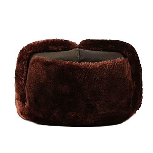 Winter Trooper Hat Men's Shearling Sheepskin Winter Fur Beanie Hat