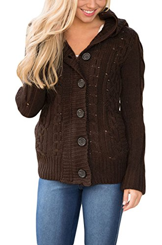 Wool Cable Sweater - Asvivid Womens Lightweight Button Up Cozy Ladies Knit Sweater Cardigans Hoodies Winter Warm Coats Outwear L Brown