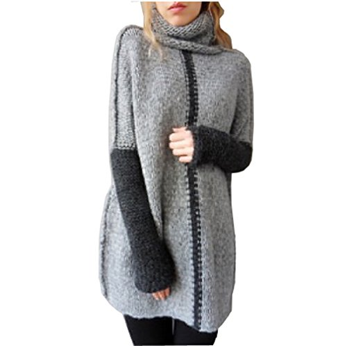 Womens Casual LooseKnit Pullover Long Bat sleeve Sweater Jumper Pullover Sweaters (XL Chest 49, Gray)