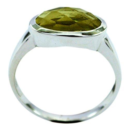 (55Carat Natural Cheker Cut Oval Shape Lemon Quartz Ring Sterling Silver Handmade for Gift Size 5,6,7,8,9,10,11,12)
