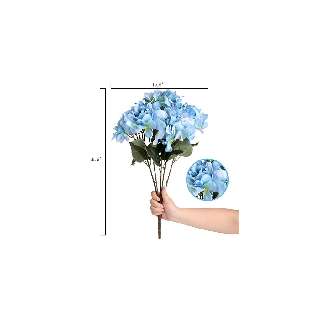 Louiesya Artificial Flowers Silk Hydrangea Flowers with 5 Big Heads Fake Flower Bunch Bouquet for Home Wedding Party Decor DIY, Light Blue