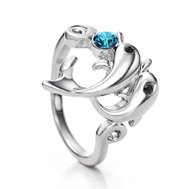 Neoglory #9 Made with Swarovski Elements Rhinestone Fashion Dolphin Rings for Women Men Jewellery now