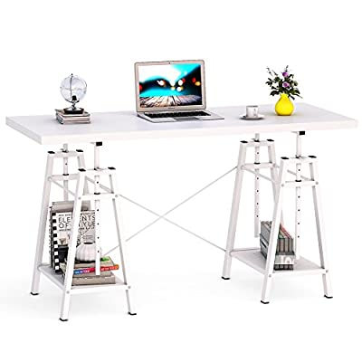 """Tribesigns Height Adjustable Computer Desk, 55"""" Large Modern Writing Desk PC Laptop Study Table Home Office Desk with Storage Shelves, Works Well as Standing Desk(White) - ✔ 【55"""" Large Size Computer Table/Office Desk】: Spacious desktop size 55"""" L x 23"""" W that is sufficient enough to hold two monitors and still leave you ample workspace for home office activities. ✔ 【7-Height Adjustable Options, Easily Convert from Sitting to Standing 】: From 29.9""""H standard height to 39.8""""H standing height, this versatile desk can be used as a normal computer desk or stand up desk. Height adjustable feature promotes better posture and helps reduce back & neck pain too ✔ 【Efficient Height Adjustment, No Extra Tools Needed 】: Go from sitting to standing by simply removing the locking safety pins from each leg and raising the desktop to your preferred height and reinsert pins - writing-desks, living-room-furniture, living-room - 41jrEuDBipL. SS400  -"""