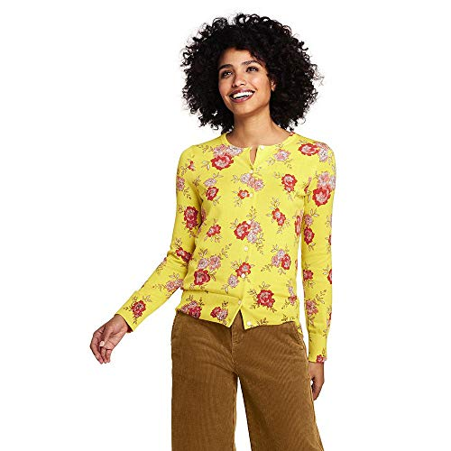 Lands' End Women's Supima Cotton Cardigan Sweater, S, Primrose Yellow Floral