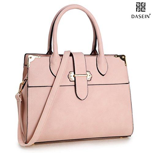 Dasein Designer Top Handle Faux Leather Work Satchel, Shoulder Bag, Handbag, Tablet Bag, iPad Bag (6347- Pink)