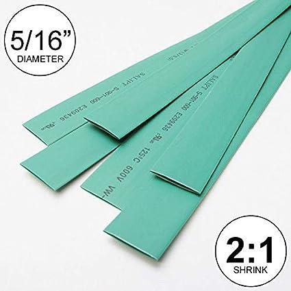"6x9/"" = 4 ft inch//feet//to 2mm 5//64/"" ID Green Heat Shrink Tube 2:1 ratio wrap"
