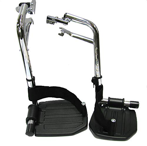 The Aftermarket Group Wheelchair Footrest Assembly, Hemi Spacing, Black Aluminum Footplate with Heel Loops, 1 Pair, - Footplate Aluminum Black
