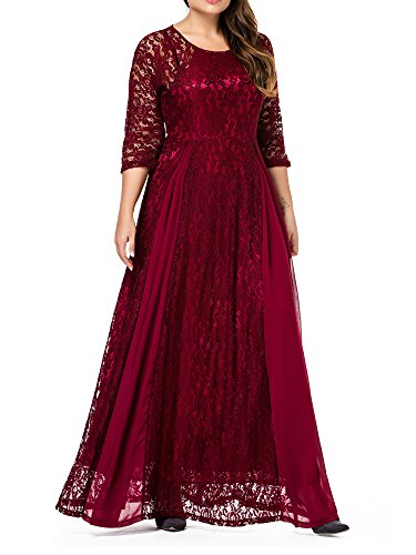 GMHO Women's Plus Size 3/4 Sleeve Lace Maxi Bridesmaid Dress Gown (5X, Red)