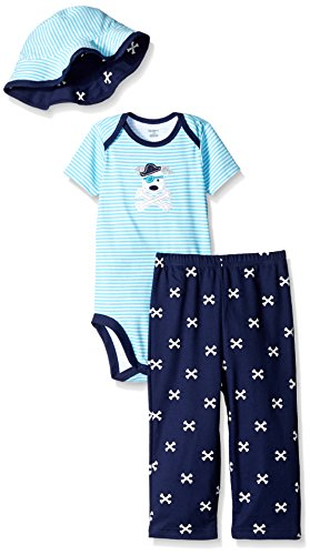 Baby Pirate Clothes - Gerber Baby Three-Piece Bodysuit, Bucket Hat,
