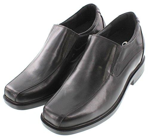 calto-g31707-8,4cm Grande Taille-Hauteur Augmenter Chaussures ascenseur (en cuir noir à enfiler léger)