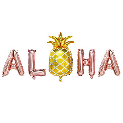 Rose Gold Aloha Balloons with Gold Pineapple | Aloha Party Decorations | Aloha Foil Balloons for Hawaii Party, Luau Party | 16inch