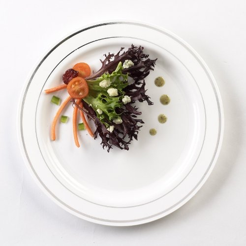 - EMI Yoshi Koyal Glimmerware Salad Plates, 7.5-Inch, White and Silver, Set of 120