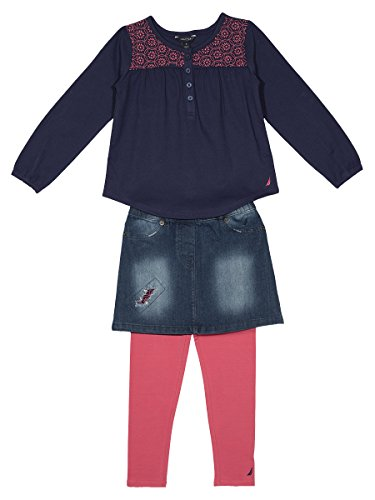 Denim Embroidered Pant Set - 9